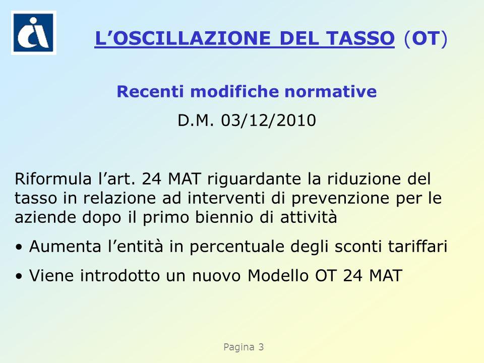 Pagina 3 Recenti modifiche normative D.M. 03/12/2010 Riformula lart.