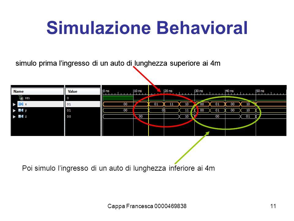 Cappa Francesca 000046983811 Simulazione Behavioral simulo prima lingresso di un auto di lunghezza superiore ai 4m Poi simulo lingresso di un auto di