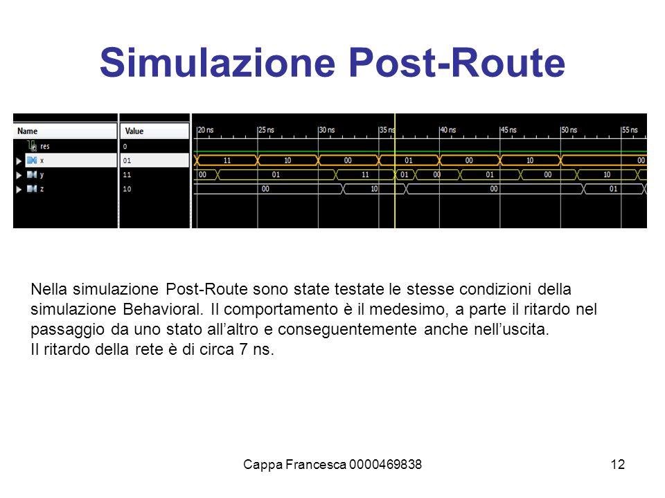 Cappa Francesca 000046983812 Simulazione Post-Route Nella simulazione Post-Route sono state testate le stesse condizioni della simulazione Behavioral.