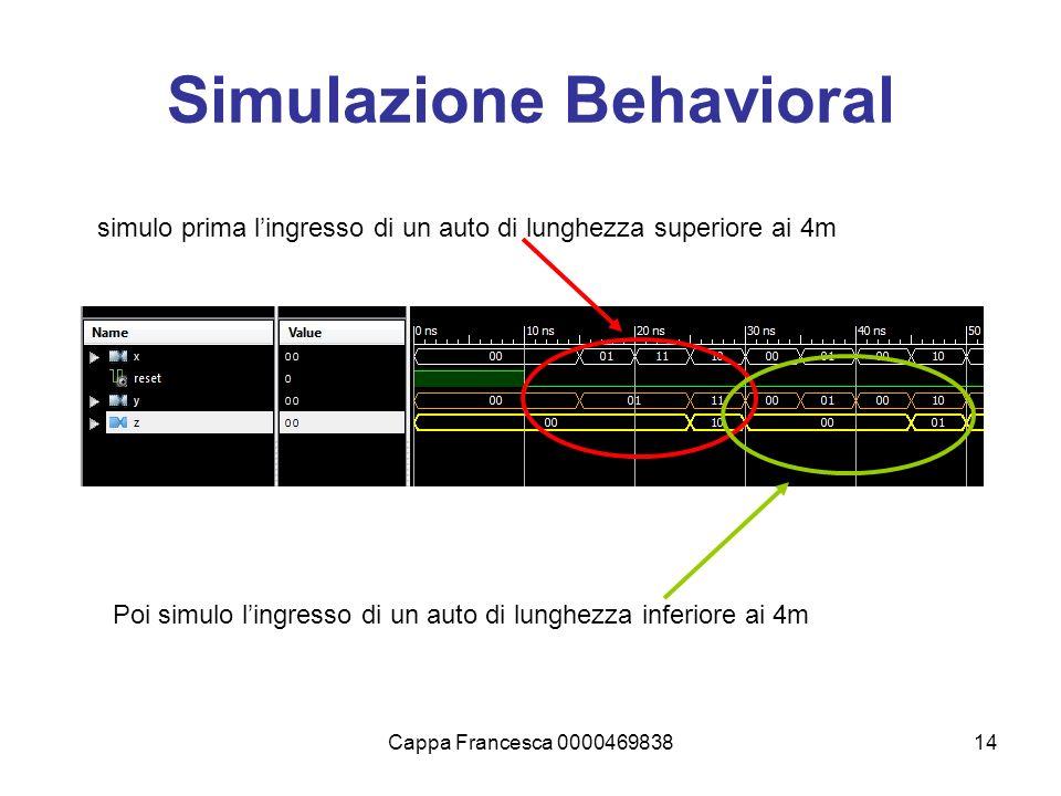 Cappa Francesca 000046983814 Simulazione Behavioral simulo prima lingresso di un auto di lunghezza superiore ai 4m Poi simulo lingresso di un auto di