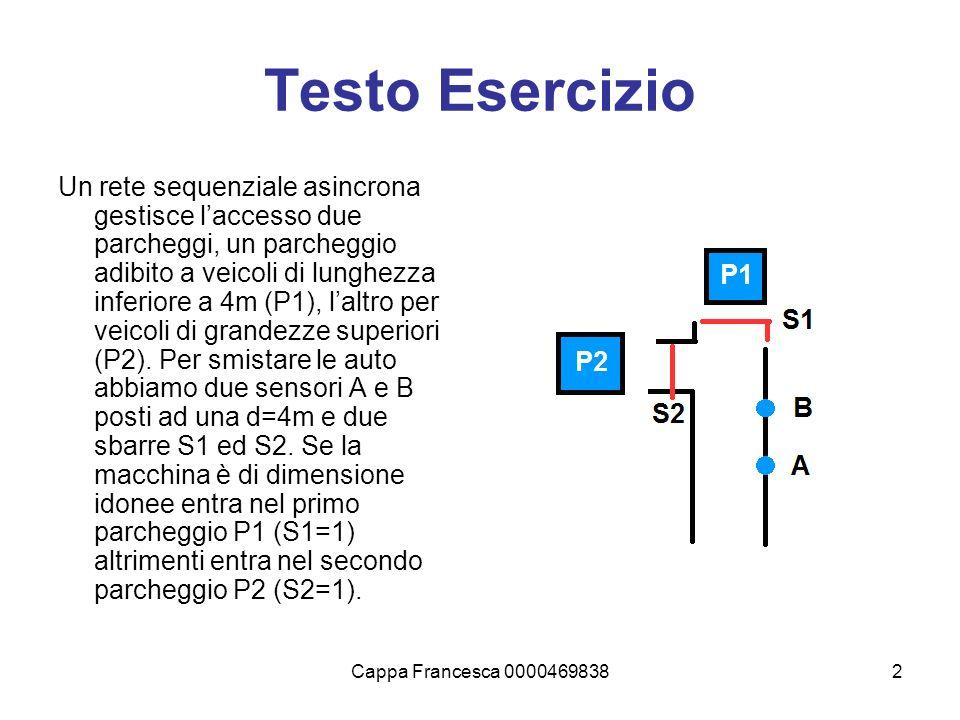 Cappa Francesca 00004698382 Testo Esercizio Un rete sequenziale asincrona gestisce laccesso due parcheggi, un parcheggio adibito a veicoli di lunghezz