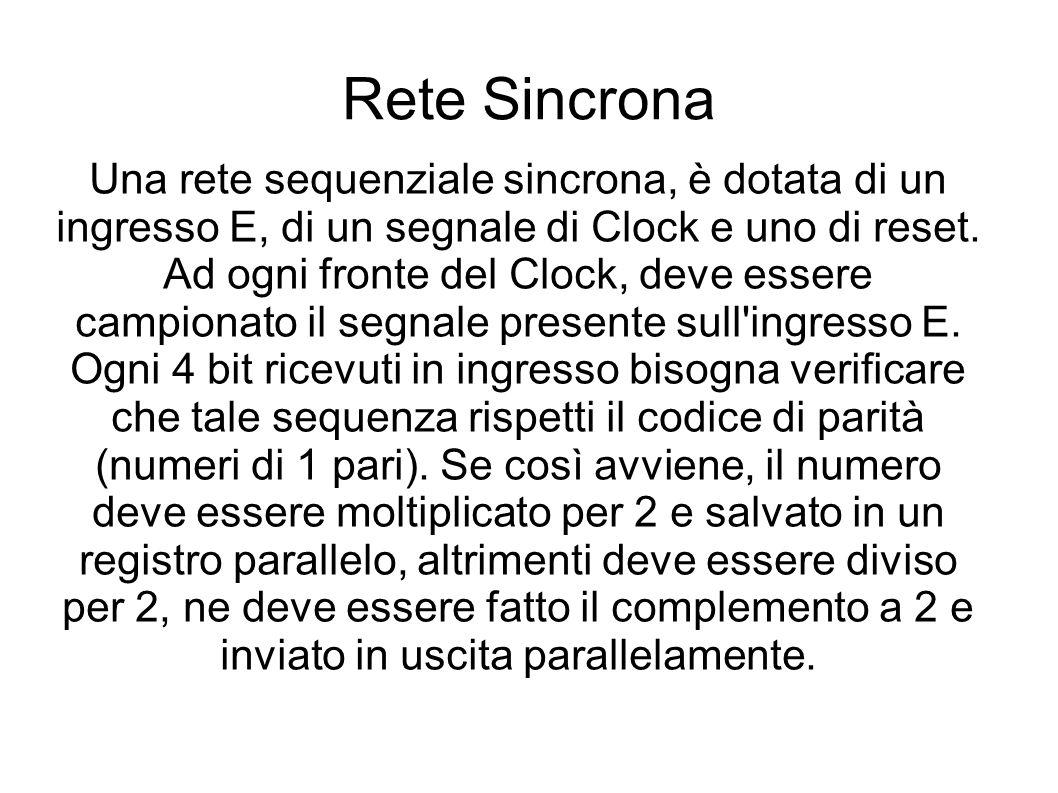 Rete Sincrona Una rete sequenziale sincrona, è dotata di un ingresso E, di un segnale di Clock e uno di reset. Ad ogni fronte del Clock, deve essere c