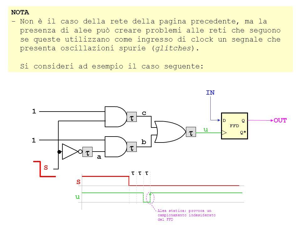 NOTA - Non è il caso della rete della pagina precedente, ma la presenza di alee può creare problemi alle reti che seguono se queste utilizzano come ingresso di clock un segnale che presenta oscillazioni spurie (glitches).