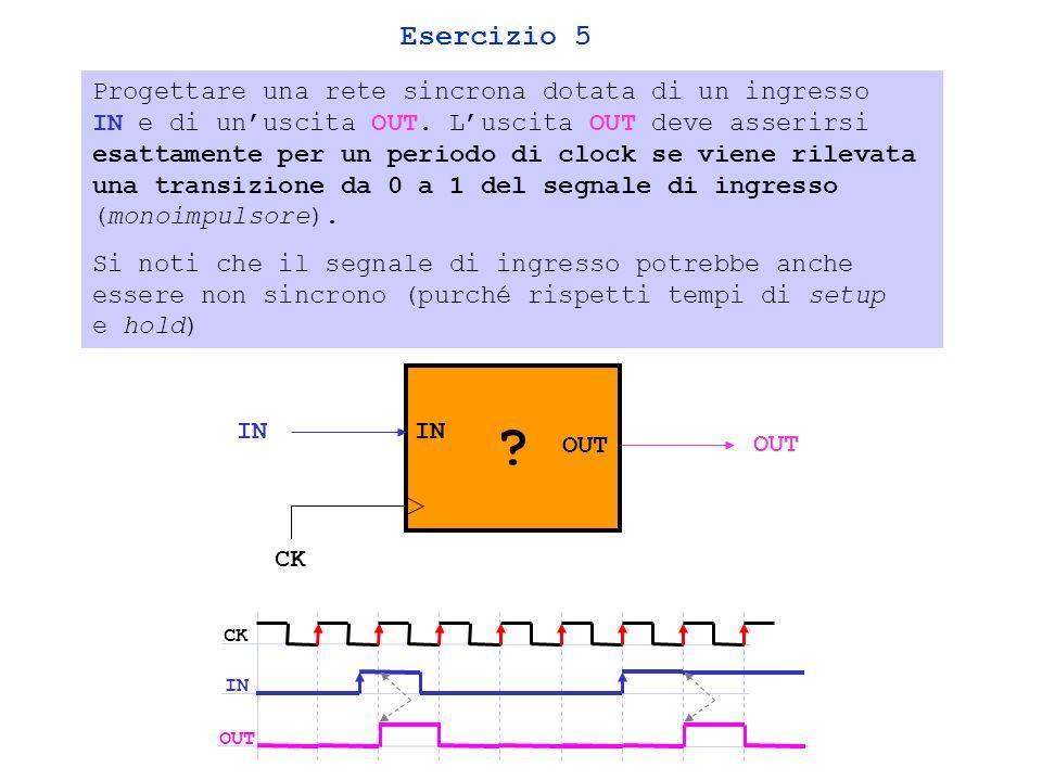 Esercizio 5 Progettare una rete sincrona dotata di un ingresso IN e di unuscita OUT.