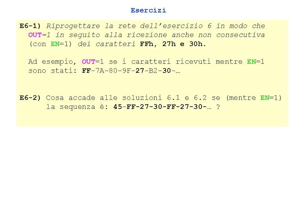 Esercizi E6-1) Riprogettare la rete dellesercizio 6 in modo che OUT=1 in seguito alla ricezione anche non consecutiva (con EN=1) dei caratteri FFh, 27h e 30h.