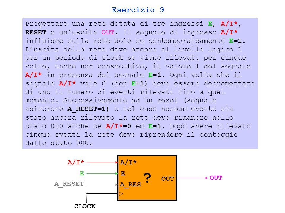 Esercizio 9 Progettare una rete dotata di tre ingressi E, A/I*, RESET e unuscita OUT.