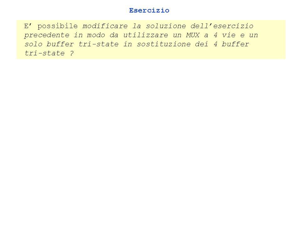 Esercizio E possibile modificare la soluzione dellesercizio precedente in modo da utilizzare un MUX a 4 vie e un solo buffer tri-state in sostituzione dei 4 buffer tri-state ?