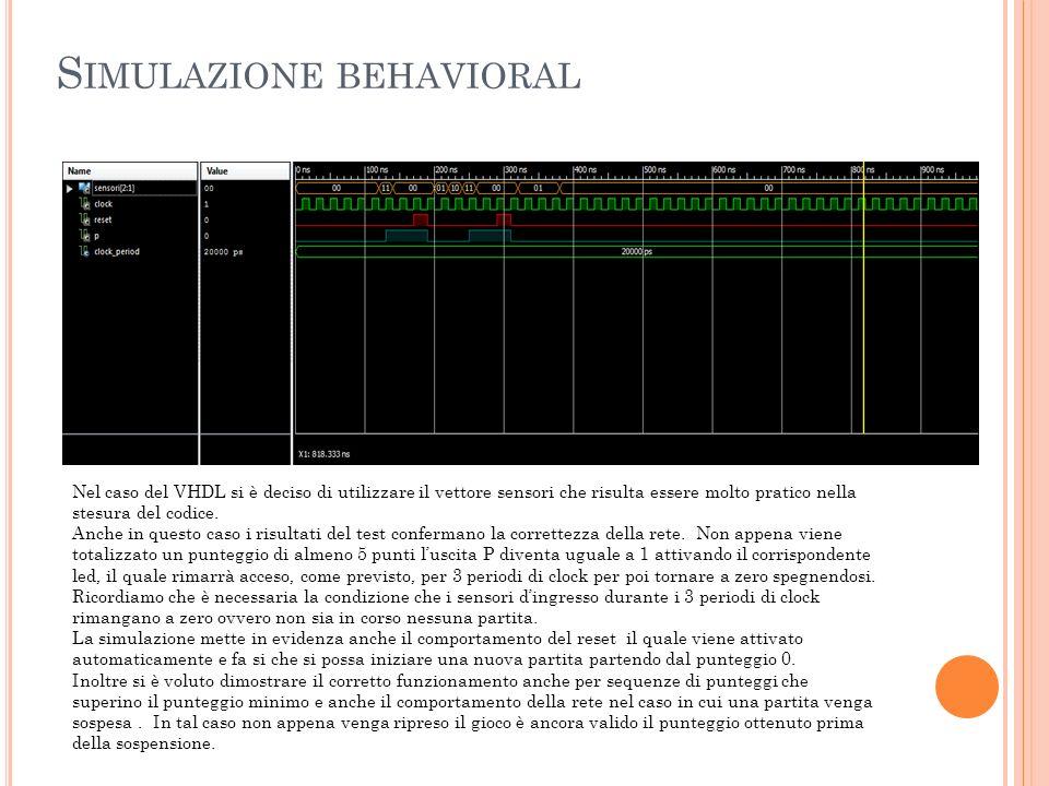 S IMULAZIONE POST - ROUTE La simulazione Post-Route mette in evidenza alcuni ritardi dovuti ai componenti scelti per la realizzazione della rete e alle commutazioni dei segnali stessi.