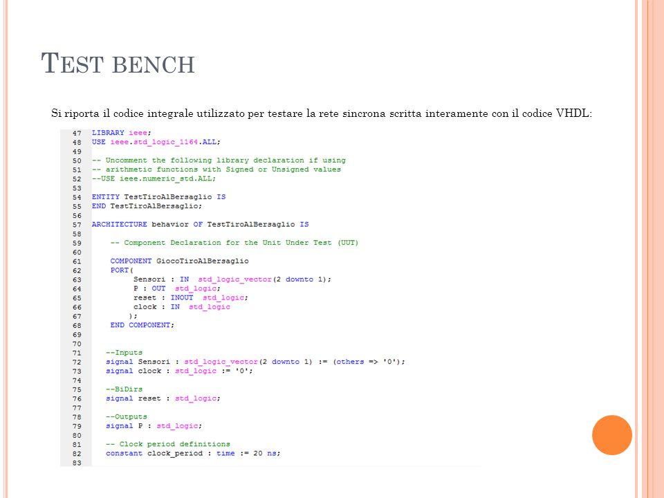 T EST BENCH Si riporta il codice integrale utilizzato per testare la rete sincrona scritta interamente con il codice VHDL: