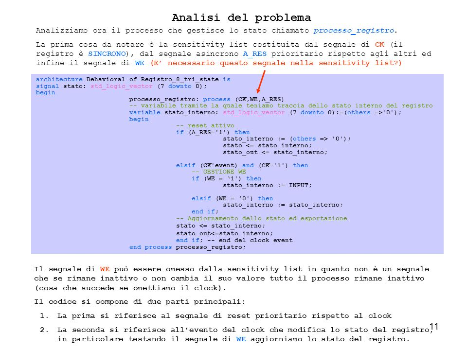 11 Analisi del problema architecture Behavioral of Registro_8_tri_state is signal stato: std_logic_vector (7 downto 0); begin processo_registro: process (CK,WE,A_RES) -- variabile tramite la quale teniamo traccia dello stato interno del registro variable stato_interno: std_logic_vector (7 downto 0):=(others => 0 ); begin -- reset attivo if (A_RES= 1 ) then stato_interno := (others => 0 ); stato <= stato_interno; stato_out <= stato_interno; elsif (CK event) and (CK= 1 ) then -- GESTIONE WE if (WE = 1 ) then stato_interno := INPUT; elsif (WE = 0 ) then stato_interno := stato_interno; end if; -- Aggiornamento dello stato ed esportazione stato <= stato_interno; stato_out<=stato_interno; end if; -- end del clock event end process processo_registro; Analizziamo ora il processo che gestisce lo stato chiamato processo_registro.