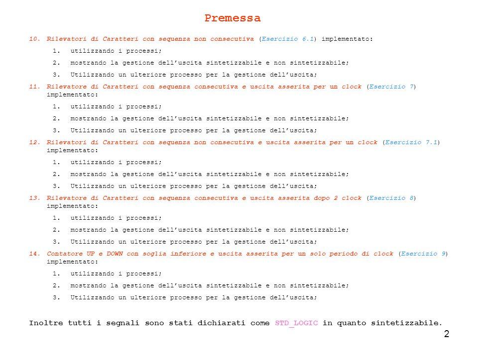 63 ------------------------------- -- Abilito l uscita if (R_FF = 1) and (R_27 = 1) and (R_30 = 1) then OUTPUT<= 1 after tempo_clock_2; R_FF:= 0 ; R_27:= 0 ; R_30:= 0 ; end if; -- controllo i booleani e abilitazione uscita -- Esporto le variabili booleane per chiarire in che modo avviene il rilevamento S_FF<=R_FF; S_27<=R_27; S_30<=R_30; -------------------------------------------------------------------------------- Analisi del Codice – uscita non sintetizzabile Come notiamo è stata utilizzata la costante tempo_clock_2, tramite la quale riusciamo ad attivare luscita dopo i due periodi di clock dal rilevamento della sequenza CONSECUTIVA di FF-27-30.