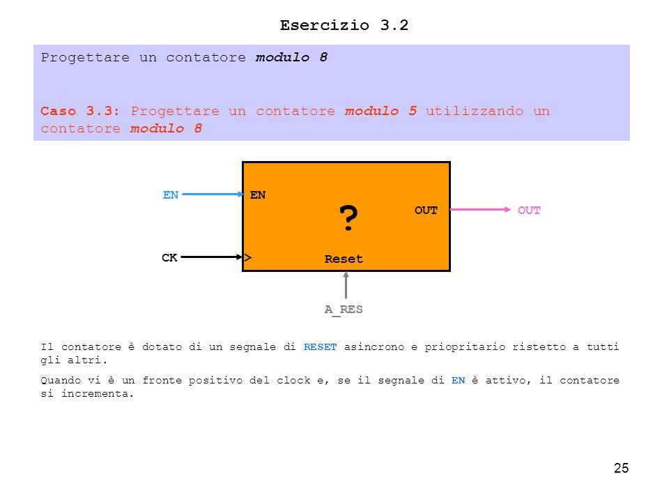 25 Esercizio 3.2 Progettare un contatore modulo 8 Caso 3.3: Progettare un contatore modulo 5 utilizzando un contatore modulo 8 > OUT CK OUT .