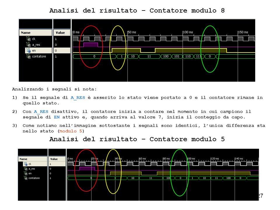27 Analisi del risultato – Contatore modulo 8 Analizzando i segnali si nota: 1)Se il segnale di A_RES è asserito lo stato viene portato a 0 e il contatore rimane in quello stato.