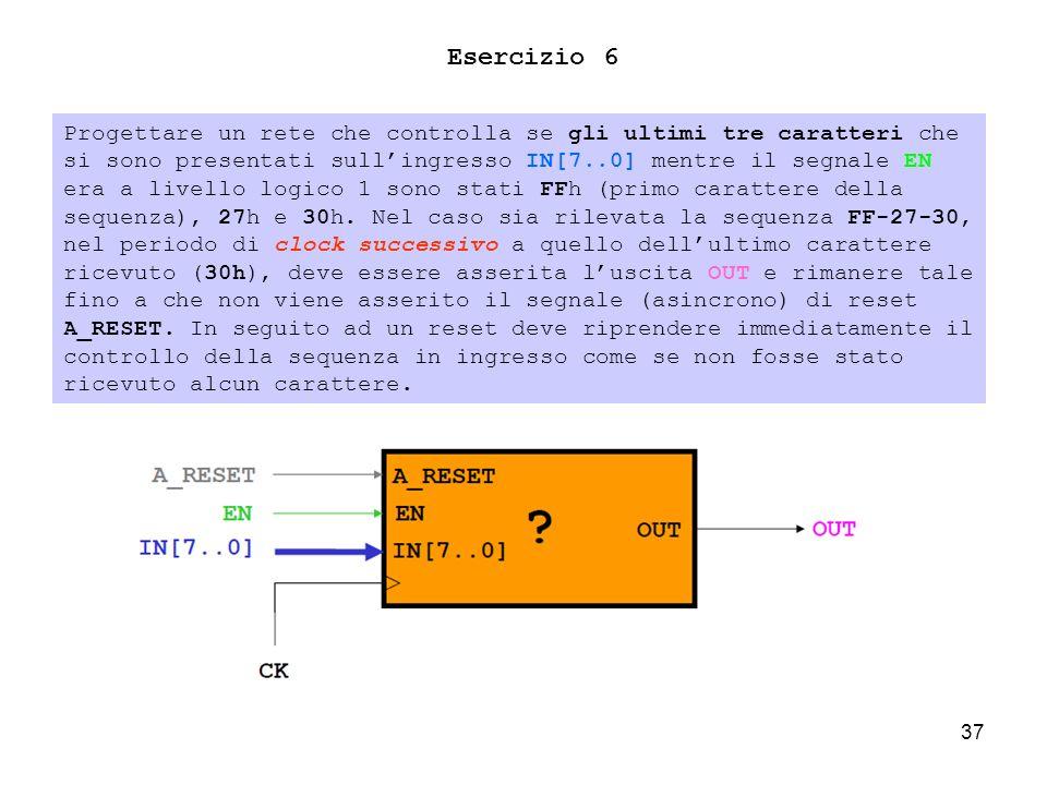37 Esercizio 6 Progettare un rete che controlla se gli ultimi tre caratteri che si sono presentati sullingresso IN[7..0] mentre il segnale EN era a livello logico 1 sono stati FFh (primo carattere della sequenza), 27h e 30h.