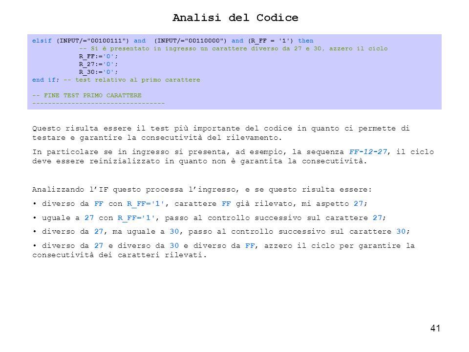 41 elsif (INPUT/= 00100111 ) and (INPUT/= 00110000 ) and (R_FF = 1 ) then -- Si è presentato in ingresso un carattere diverso da 27 e 30, azzero il ciclo R_FF:= 0 ; R_27:= 0 ; R_30:= 0 ; end if; -- test relativo al primo carattere -- FINE TEST PRIMO CARATTERE ---------------------------------- Analisi del Codice Questo risulta essere il test più importante del codice in quanto ci permette di testare e garantire la consecutività del rilevamento.