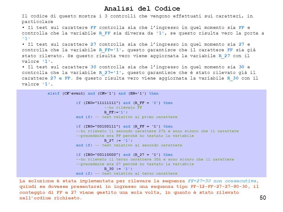 50 elsif (CK event) and (CK= 1 ) and (EN= 1 ) then if (ING= 11111111 ) and (R_FF = 0 ) then --ho rilevato FF R_FF:= 1 ; end if; -- test relativo al primo carattere if (ING= 00100111 ) and (R_FF = 1) then --ho rilevato il secondo carattere 27h e sono sicuro che il carattere --precedente era FF perchè ho testato la variabile R_27 := 1 ; end if; -- test relativo al secondo carattere if (ING= 00110000 ) and (R_27 = 1) then --ho rilevato il terzo carattere 30h e sono sicuro che il carattere --precedente era 27 perchè ho testato la variabile R_30 := 1 ; end if; -- test relativo al terzo carattere Analisi del Codice Il codice di questo mostra i 3 controlli che vengono effettuati sui caratteri, in particolare Il test sul carattere FF controlla sia che lingresso in quel momento sia FF e controlla che la variabile R_FF sia diversa da 1 , se questo risulta vero la porta a 1 Il test sul carattere 27 controlla sia che lingresso in quel momento sia 27 e controlla che la variabile R_FF= 1 , questo garantisce che il carattere FF sia già stato rilevato.