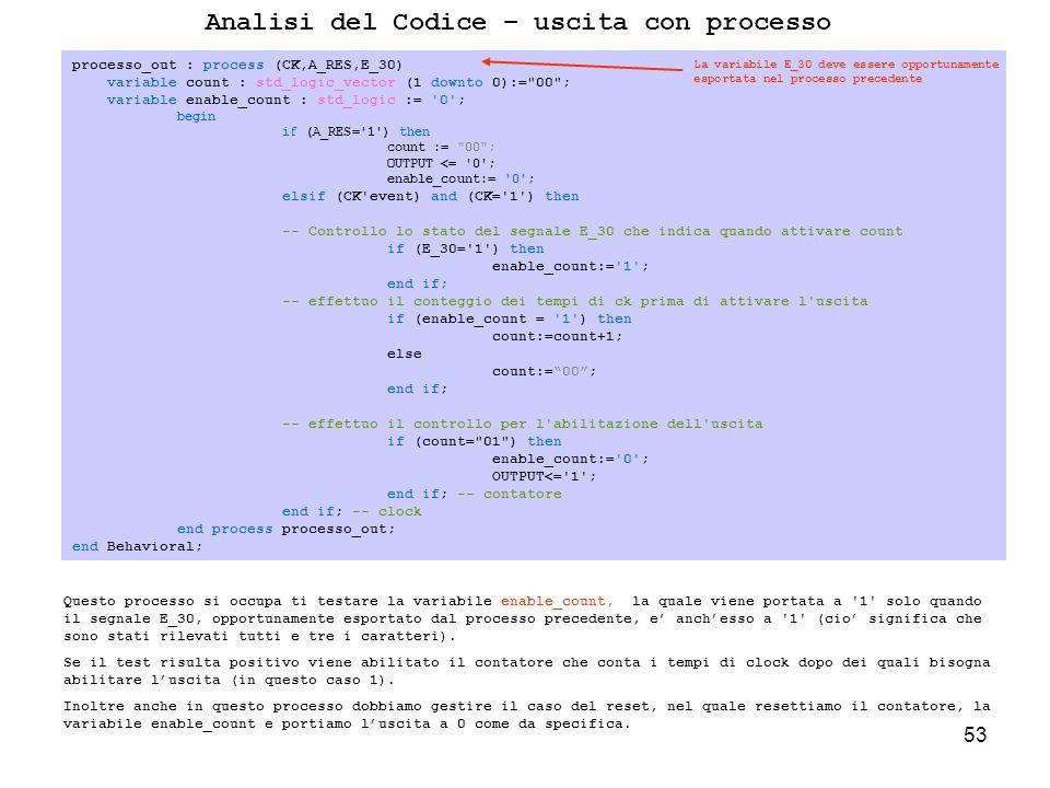53 Analisi del Codice – uscita con processo Questo processo si occupa ti testare la variabile enable_count, la quale viene portata a 1 solo quando il segnale E_30, opportunamente esportato dal processo precedente, e anchesso a 1 (cio significa che sono stati rilevati tutti e tre i caratteri).
