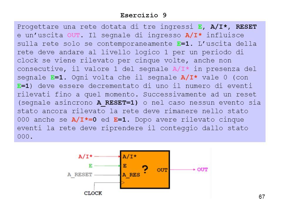 67 Esercizio 9 Progettare una rete dotata di tre ingressi E, A/I*, RESET e unuscita OUT.