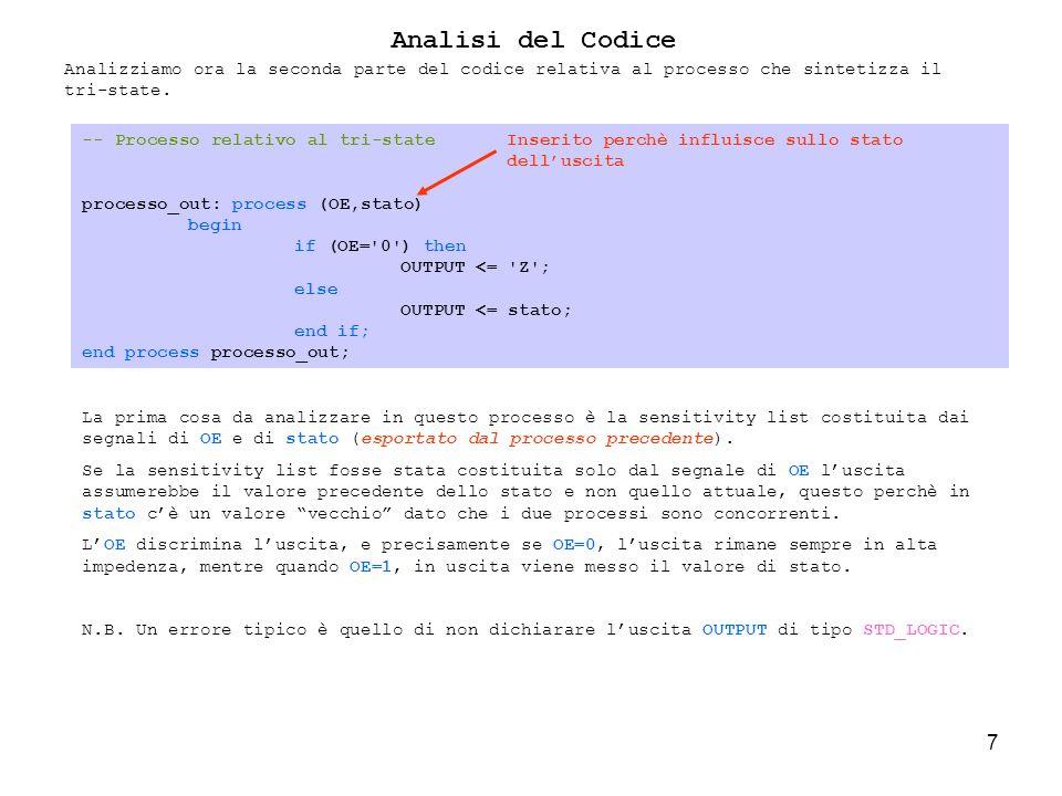 38 library IEEE; use IEEE.STD_LOGIC_1164.ALL; use IEEE.STD_LOGIC_UNSIGNED.ALL; use IEEE.STD_LOGIC_ARITH.ALL; use WORK.MYTYPE.all; entity Rilevatore_Caratteri is Port ( CK : in STD_LOGIC; A_RES : in STD_LOGIC; EN : in STD_LOGIC; INPUT : in std_logic_vector (7 downto 0); S_FF: out STD_LOGIC := 0; S_27: out STD_LOGIC := 0; S_30: out STD_LOGIC := 0; OUTPUT : out STD_LOGIC:= 0 ); Analisi del Codice Lesercizio richiede che sia monitorato il segnale di ingresso affichè sia rilevata la sequenza dei caratteri FF-27-30.
