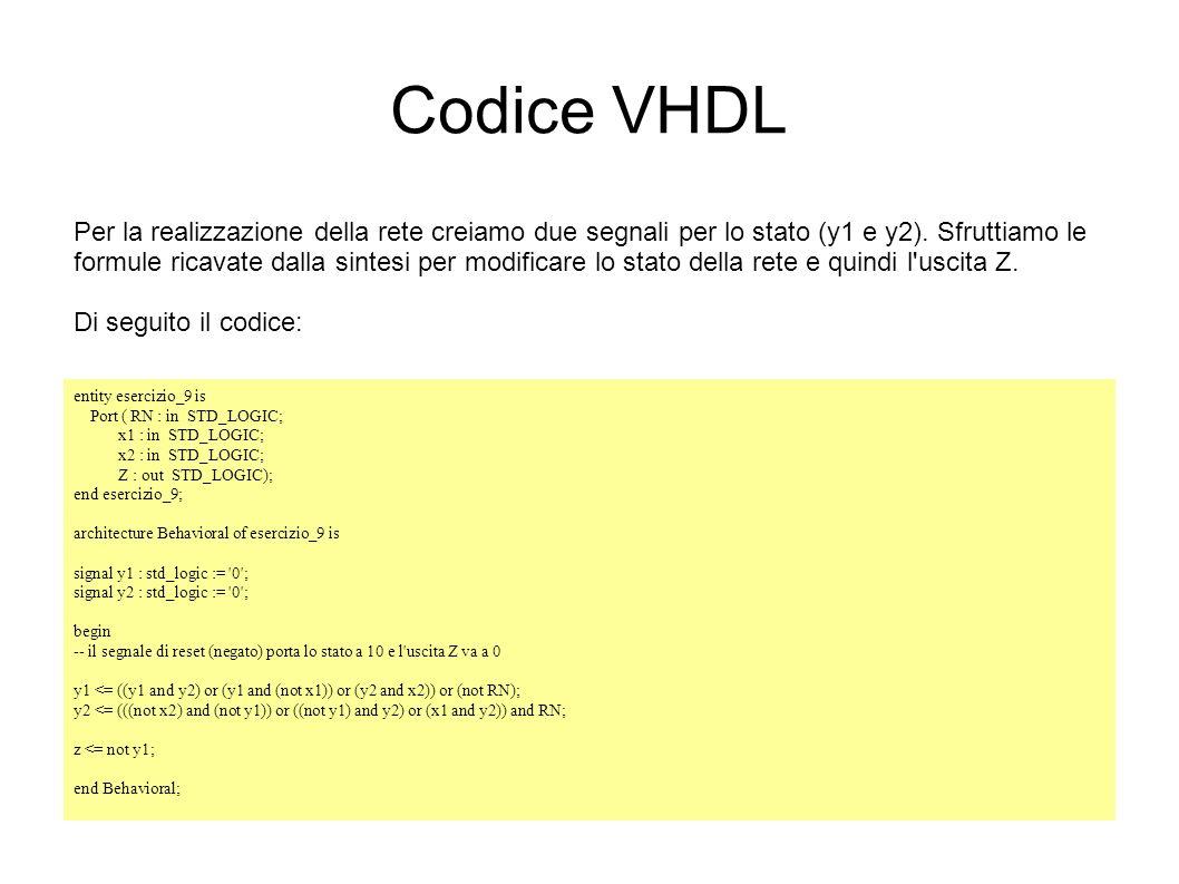 Codice VHDL Per la realizzazione della rete creiamo due segnali per lo stato (y1 e y2). Sfruttiamo le formule ricavate dalla sintesi per modificare lo