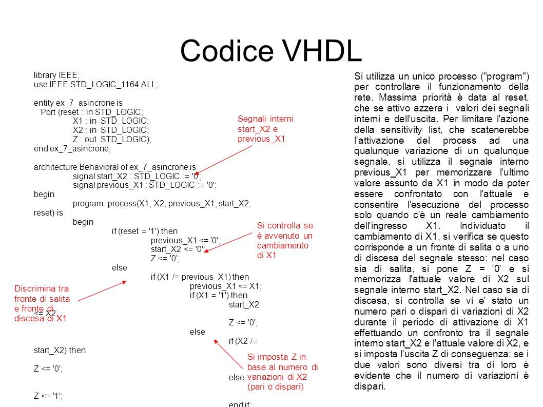 Codice VHDL library IEEE; use IEEE.STD_LOGIC_1164.ALL; entity ex_7_asincrone is Port (reset : in STD_LOGIC; X1 : in STD_LOGIC; X2 : in STD_LOGIC; Z : out STD_LOGIC); end ex_7_asincrone; architecture Behavioral of ex_7_asincrone is signal start_X2 : STD_LOGIC := 0 ; signal previous_X1 : STD_LOGIC := 0 ; begin program: process(X1, X2, previous_X1, start_X2, reset) is begin if (reset = 1 ) then previous_X1 <= 0 ; start_X2 <= 0 ; Z <= 0 ; else if (X1 /= previous_X1) then previous_X1 <= X1; if (X1 = 1 ) then start_X2 <= X2; Z <= 0 ; else if (X2 /= start_X2) then Z <= 0 ; else Z <= 1 ; end if; end process program; end Behavioral; Si utilizza un unico processo ( program ) per controllare il funzionamento della rete.