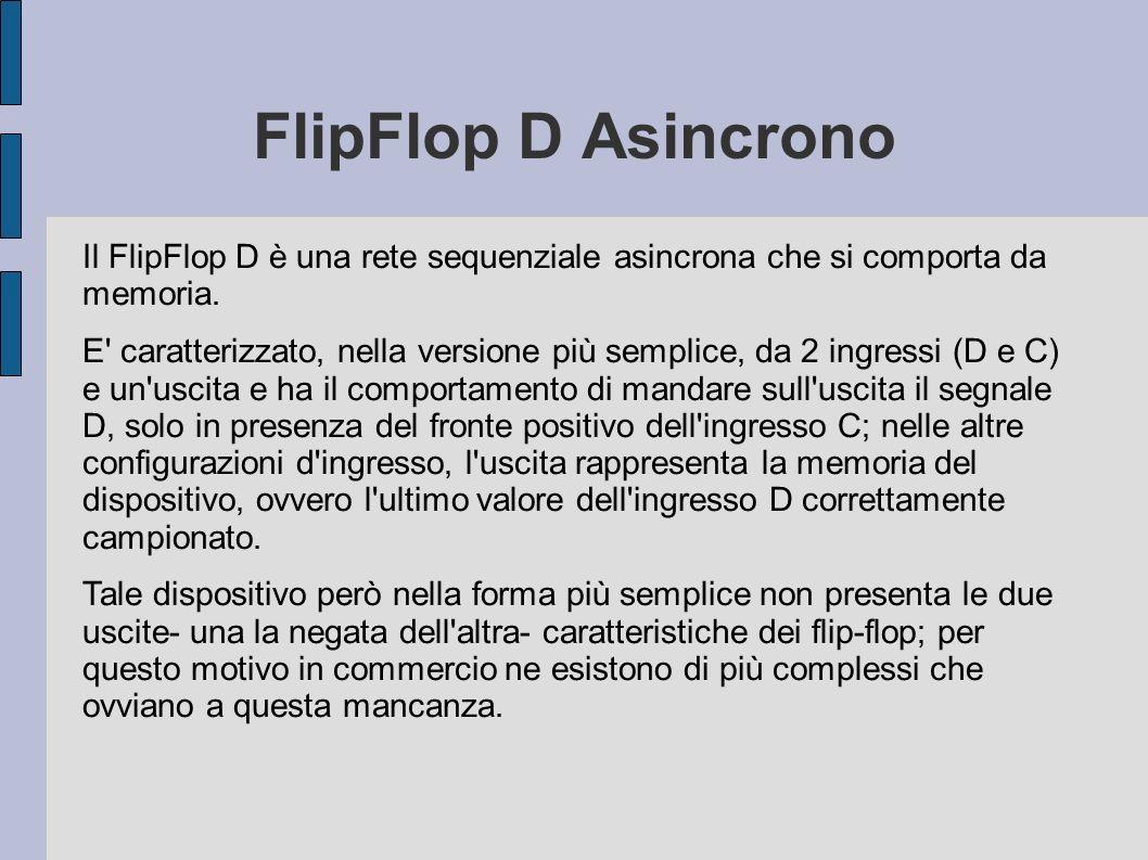 FlipFlop D Asincrono Il FlipFlop D è una rete sequenziale asincrona che si comporta da memoria.