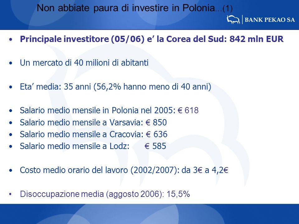 Non abbiate paura di investire in Polonia...(1) Principale investitore (05/06) e la Corea del Sud: 842 mln EUR Un mercato di 40 milioni di abitanti Et