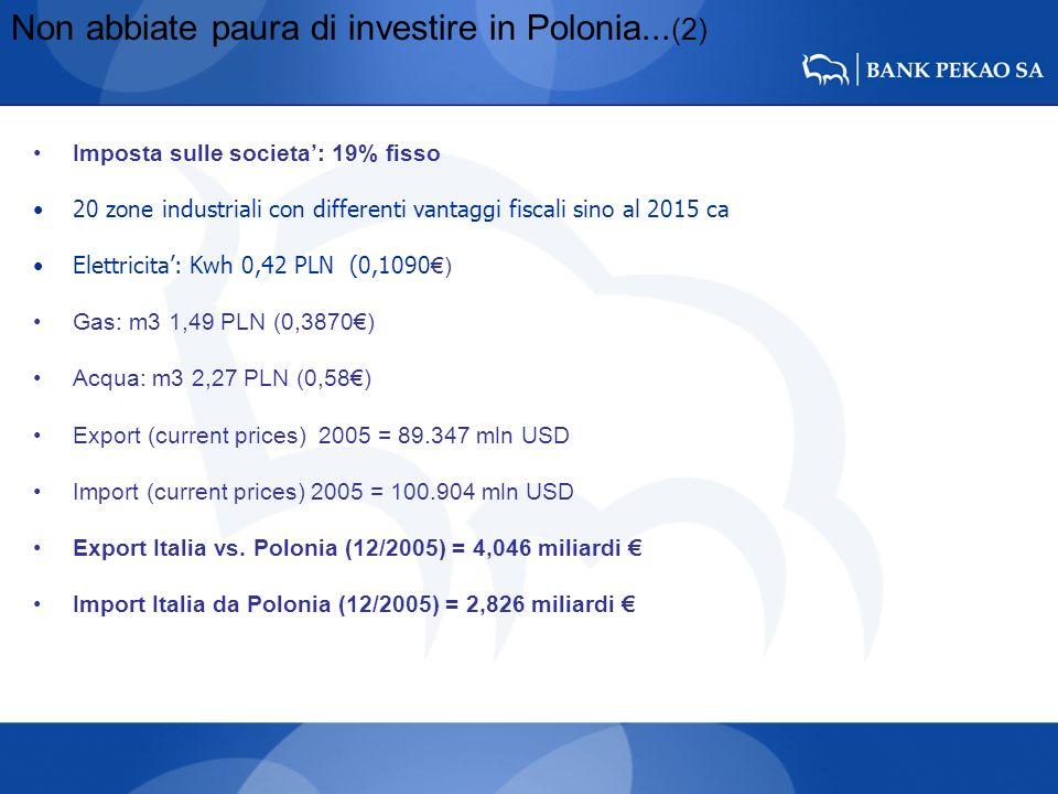 Non abbiate paura di investire in Polonia... (2) Imposta sulle societa: 19% fisso 20 zone industriali con differenti vantaggi fiscali sino al 2015 ca