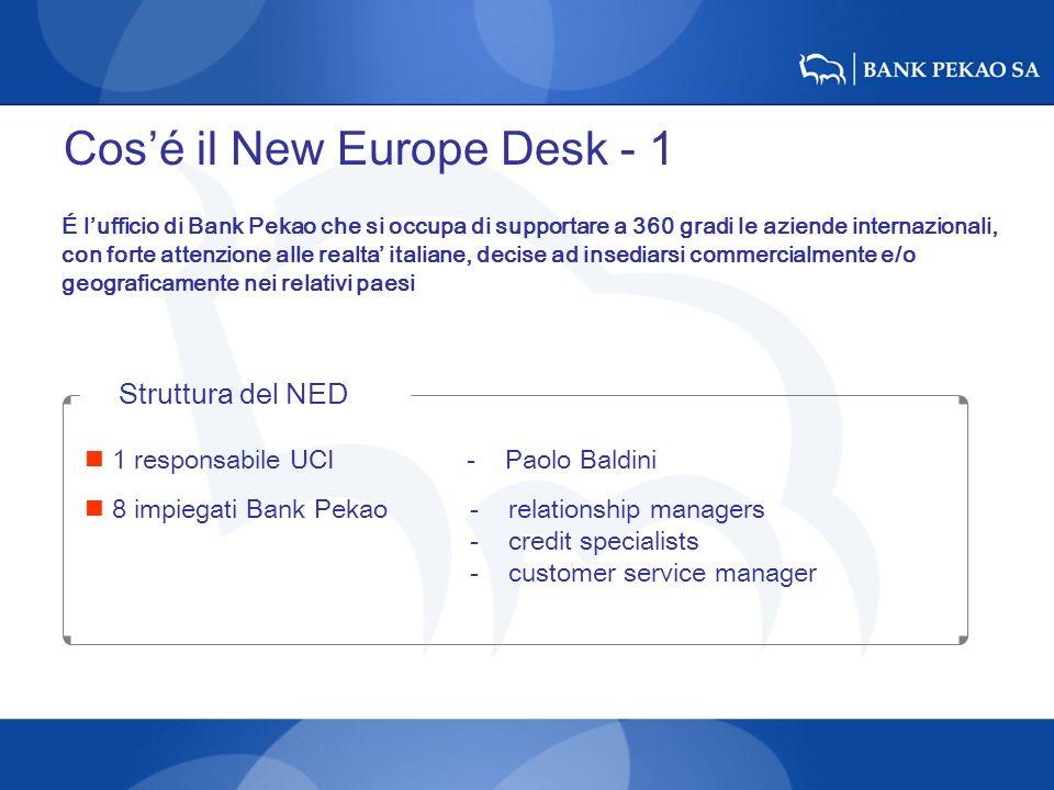 Cosé il New Europe Desk - 1 É lufficio di Bank Pekao che si occupa di supportare a 360 gradi le aziende internazionali, con forte attenzione alle real