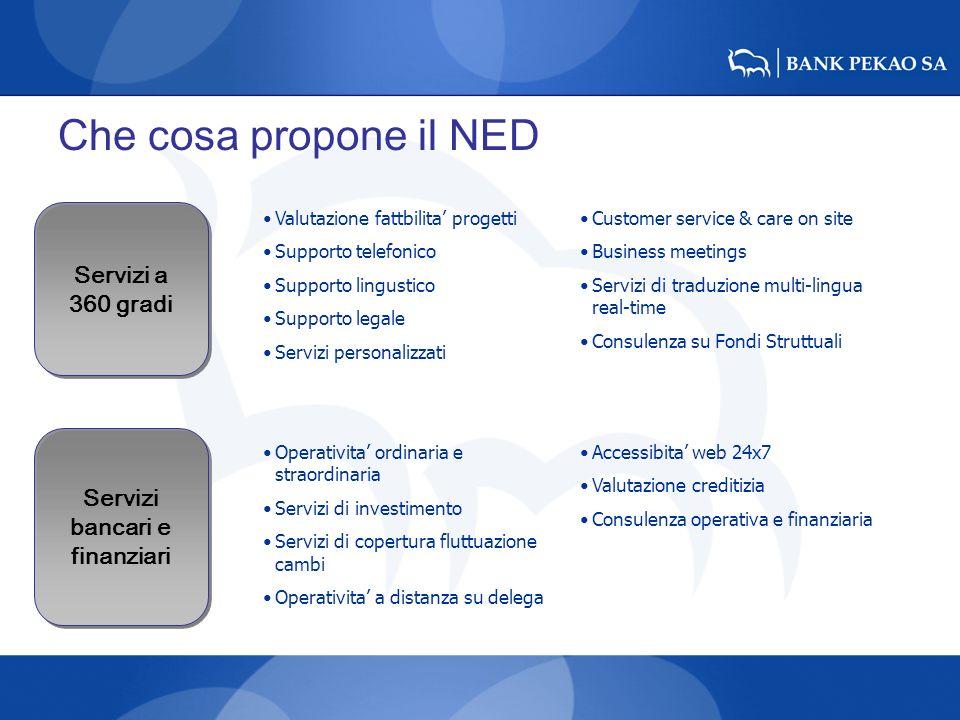 Che cosa propone il NED Servizi a 360 gradi Servizi bancari e finanziari Valutazione fattbilita progetti Supporto telefonico Supporto lingustico Suppo
