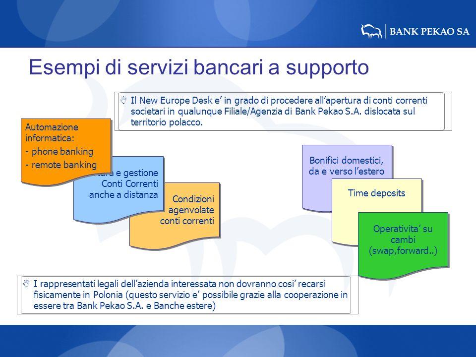 Esempi di servizi bancari a supporto Bonifici domestici, da e verso lestero Time deposits Operativita su cambi (swap,forward..) Condizioni agenvolate