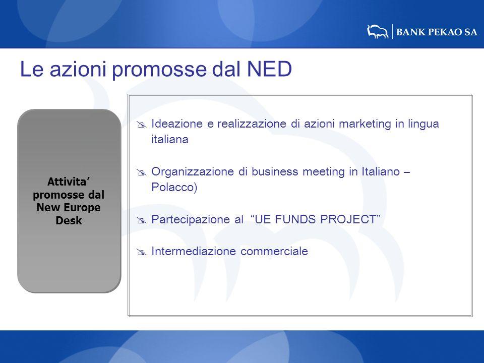 Le azioni promosse dal NED Ideazione e realizzazione di azioni marketing in lingua italiana Organizzazione di business meeting in Italiano – Polacco)