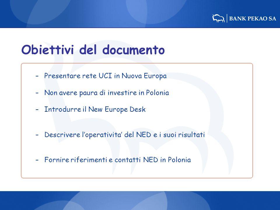 Obiettivi del documento –Presentare rete UCI in Nuova Europa –Non avere paura di investire in Polonia –Introdurre il New Europe Desk –Descrivere loper
