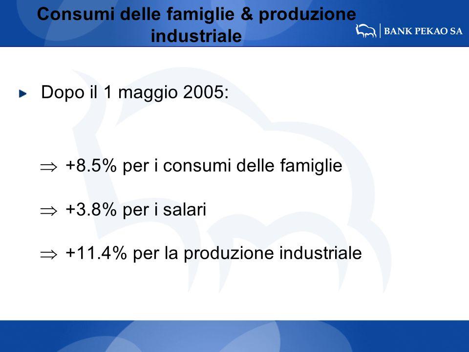 Consumi delle famiglie & produzione industriale Dopo il 1 maggio 2005: +8.5% per i consumi delle famiglie +3.8% per i salari +11.4% per la produzione