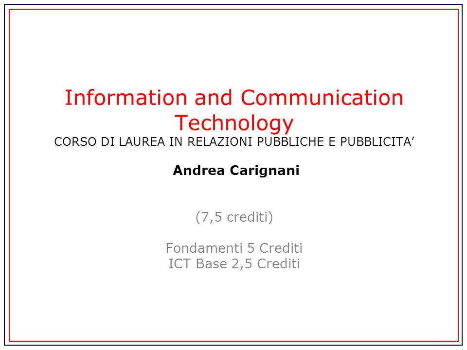 Information and Communication Technology CORSO DI LAUREA IN RELAZIONI PUBBLICHE E PUBBLICITA Andrea Carignani (7,5 crediti) Fondamenti 5 Crediti ICT B