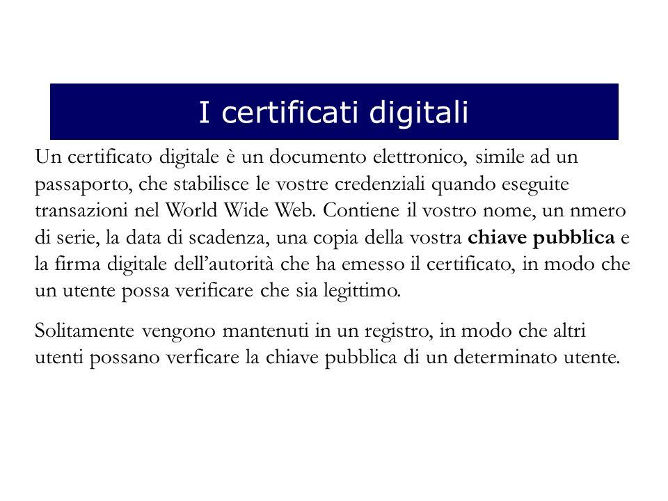 I certificati digitali Un certificato digitale è un documento elettronico, simile ad un passaporto, che stabilisce le vostre credenziali quando eseguite transazioni nel World Wide Web.