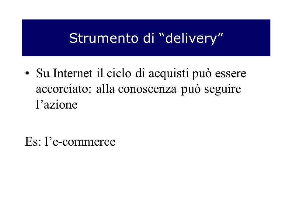 Strumento di delivery Su Internet il ciclo di acquisti può essere accorciato: alla conoscenza può seguire lazione Es: le-commerce