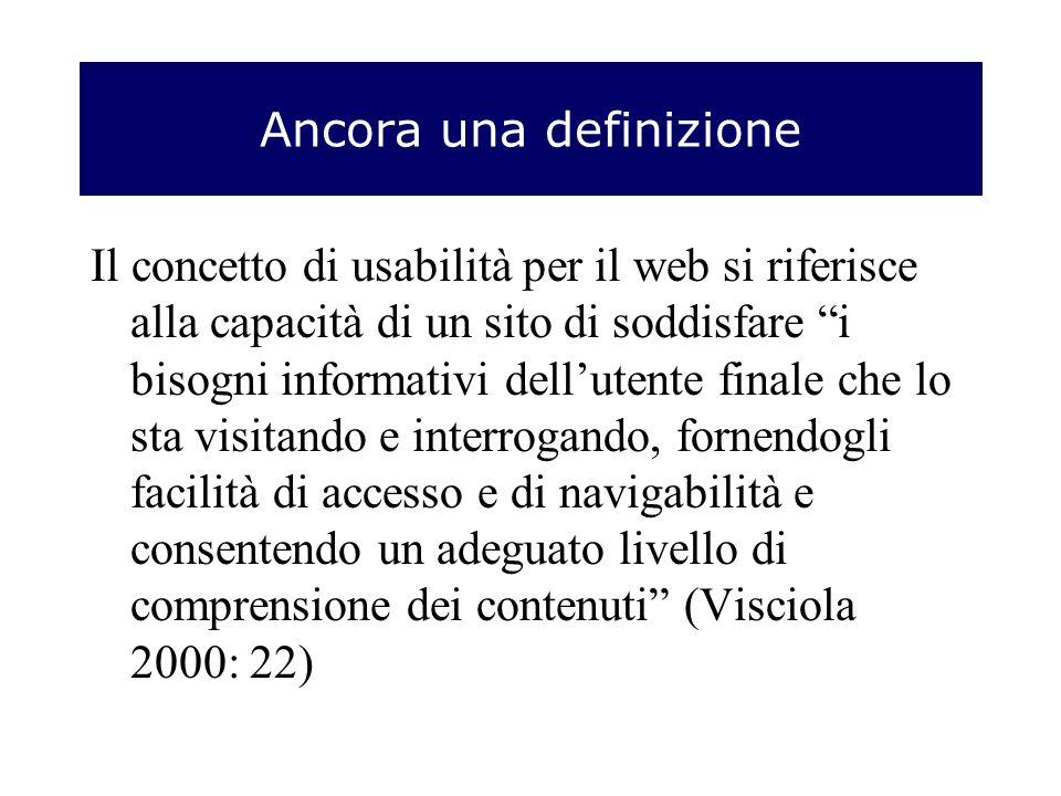 Ancora una definizione Il concetto di usabilità per il web si riferisce alla capacità di un sito di soddisfare i bisogni informativi dellutente finale che lo sta visitando e interrogando, fornendogli facilità di accesso e di navigabilità e consentendo un adeguato livello di comprensione dei contenuti (Visciola 2000: 22)