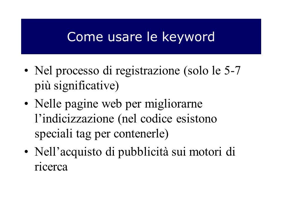 Come usare le keyword Nel processo di registrazione (solo le 5-7 più significative) Nelle pagine web per migliorarne lindicizzazione (nel codice esistono speciali tag per contenerle) Nellacquisto di pubblicità sui motori di ricerca
