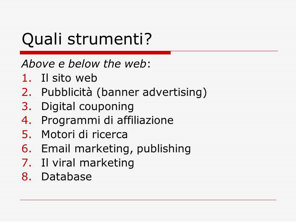 Quali strumenti? Above e below the web: 1.Il sito web 2.Pubblicità (banner advertising) 3.Digital couponing 4.Programmi di affiliazione 5.Motori di ri