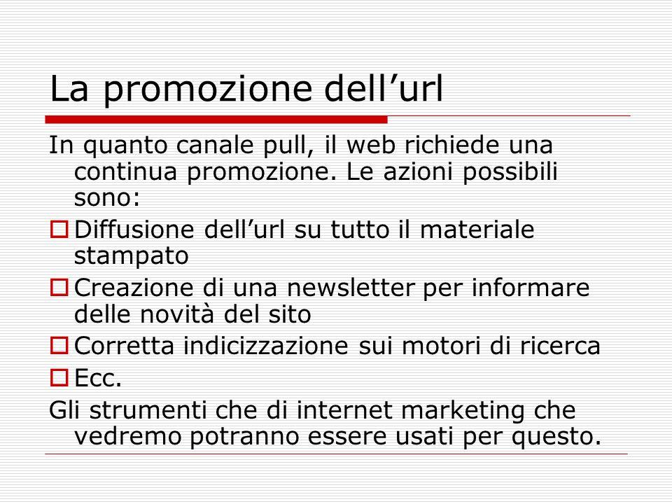 La promozione dellurl In quanto canale pull, il web richiede una continua promozione. Le azioni possibili sono: Diffusione dellurl su tutto il materia