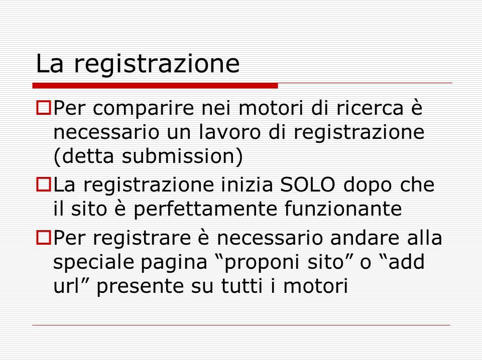 La registrazione Per comparire nei motori di ricerca è necessario un lavoro di registrazione (detta submission) La registrazione inizia SOLO dopo che il sito è perfettamente funzionante Per registrare è necessario andare alla speciale pagina proponi sito o add url presente su tutti i motori