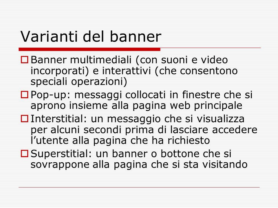 Varianti del banner Banner multimediali (con suoni e video incorporati) e interattivi (che consentono speciali operazioni) Pop-up: messaggi collocati
