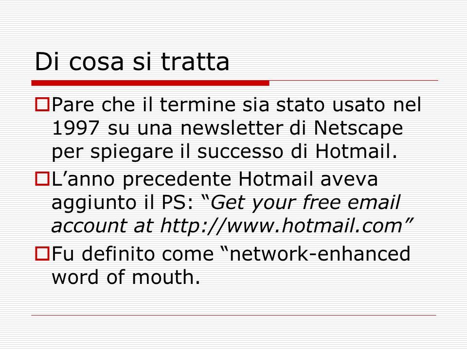 Di cosa si tratta Pare che il termine sia stato usato nel 1997 su una newsletter di Netscape per spiegare il successo di Hotmail. Lanno precedente Hot
