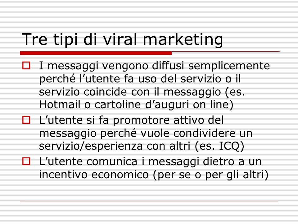Tre tipi di viral marketing I messaggi vengono diffusi semplicemente perché lutente fa uso del servizio o il servizio coincide con il messaggio (es. H