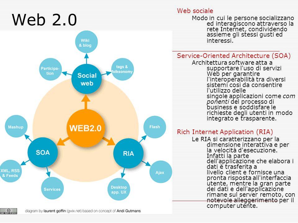Web 2.0 Web sociale Modo in cui le persone socializzano ed interagiscono attraverso la rete Internet, condividendo assieme gli stessi gusti ed interessi.