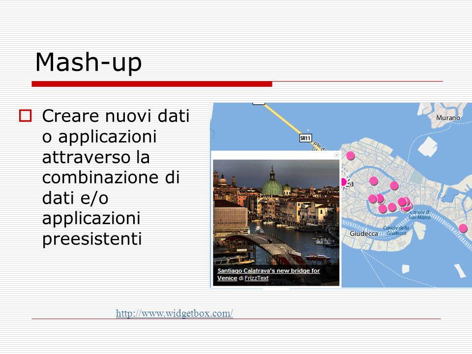 Mash-up Creare nuovi dati o applicazioni attraverso la combinazione di dati e/o applicazioni preesistenti http://www.widgetbox.com/