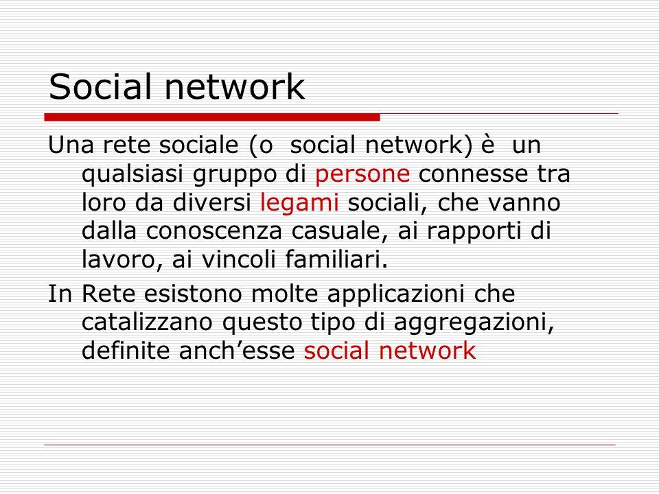 Social network Una rete sociale (o social network) è un qualsiasi gruppo di persone connesse tra loro da diversi legami sociali, che vanno dalla conos