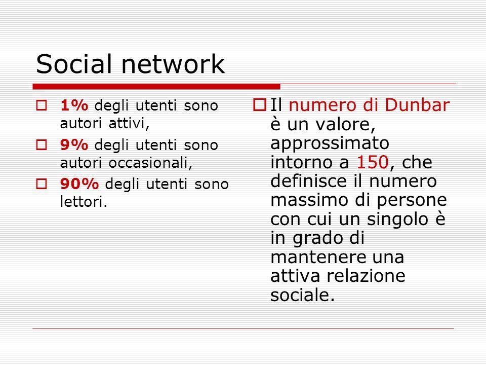 Social network 1% degli utenti sono autori attivi, 9% degli utenti sono autori occasionali, 90% degli utenti sono lettori. Il numero di Dunbar è un va