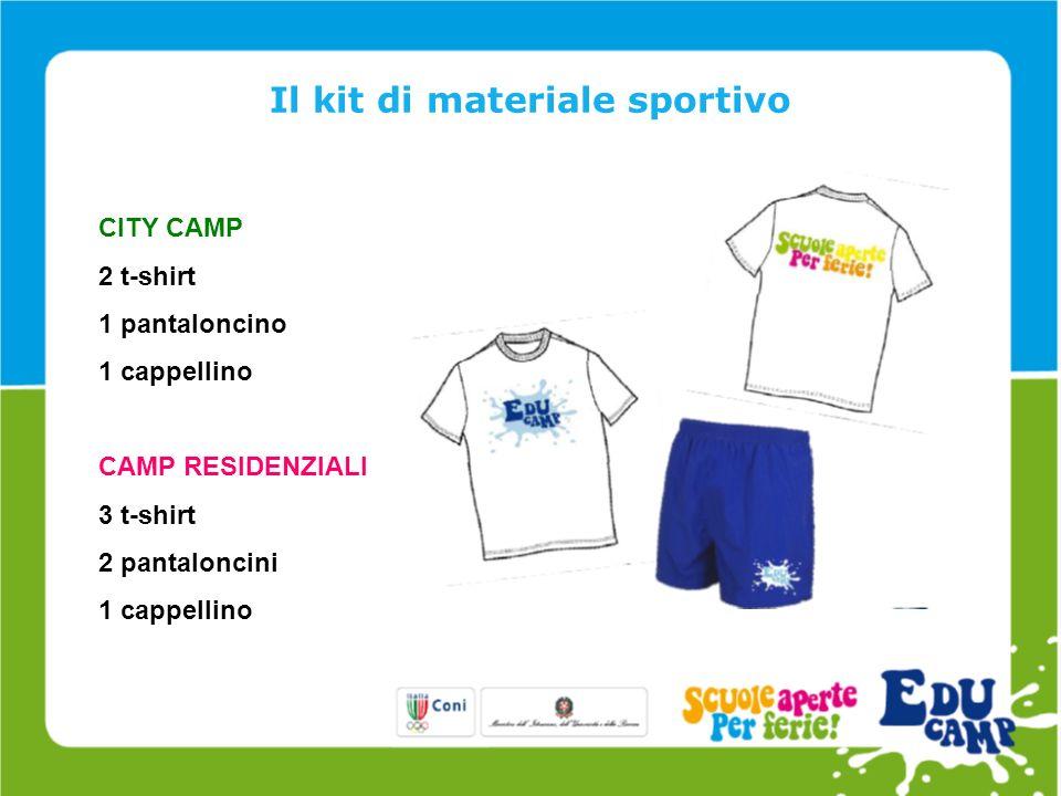 Il kit di materiale sportivo CITY CAMP 2 t-shirt 1 pantaloncino 1 cappellino CAMP RESIDENZIALI 3 t-shirt 2 pantaloncini 1 cappellino